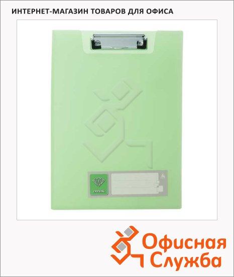 Клипборды с крышкой Бюрократ Crystal зеленая, А4, CR602GRN