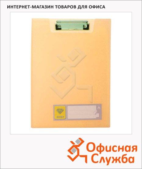 фото: Клипборд с крышкой Бюрократ Crystal оранжевый А4, CR602OR