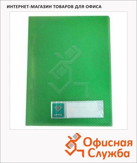 Папка пластиковая с зажимом Бюрократ Crystal зеленая, А4, CR05CGRN