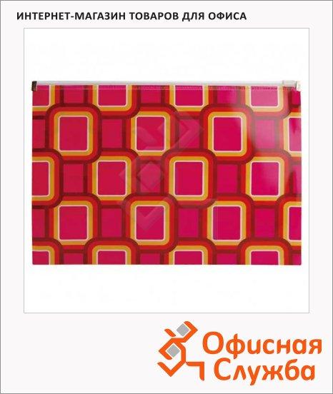 Пластиковая папка на молнии Бюрократ Fusion ассорти, 200мкм, А4, FUZA4