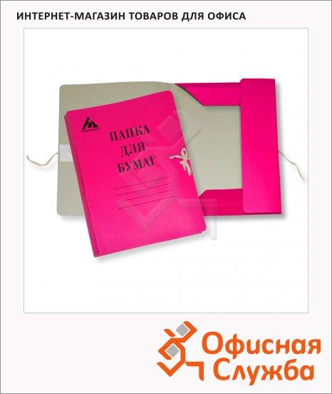 фото: Картонная папка на завязках Бюрократ розовая А4, до 150 листов