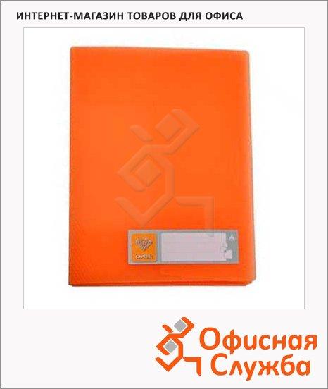 фото: Папка на 4-х кольцах А4 Бюрократ Crystal оранжевая 27 мм, CR0527/4Ror