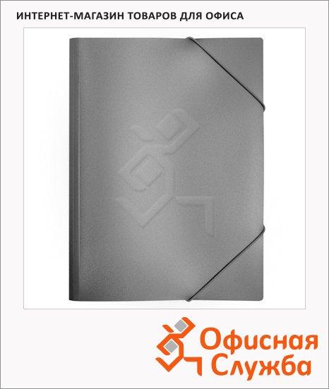 Пластиковая папка на резинке Бюрократ серая, A4, 15мм, PR04grey