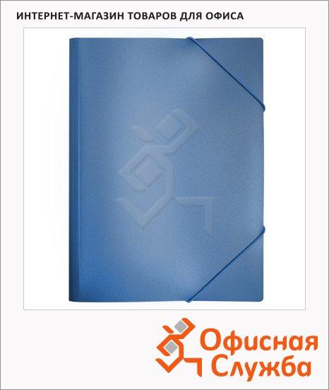 Пластиковая папка на резинке Бюрократ синяя, A4, 15мм, PR04blue