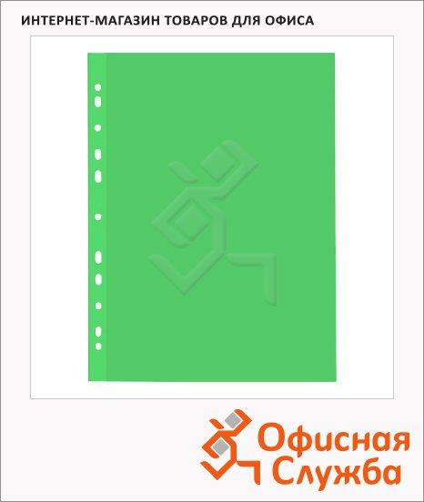 Файл-вкладыш А4+ Бюрократ Премиум зеленый глянцевый, 30 мкм, 50 шт/уп