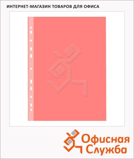 Файл-вкладыш А4+ Бюрократ Премиум красный глянцевый, 30 мкм, 50 шт/уп