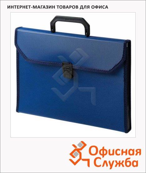Портфель пластиковый Бюрократ синий, А4, 24 отделения, PP24TL