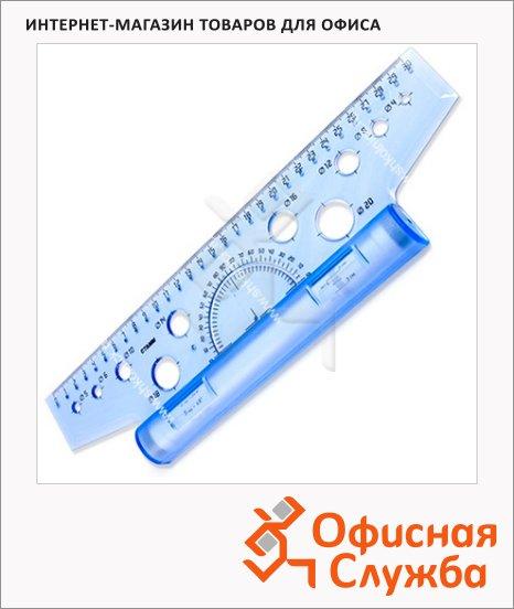 Линейка-рейсшина Стамм ЛР10 30см, инерционная, с пластиковым роликом, голубая
