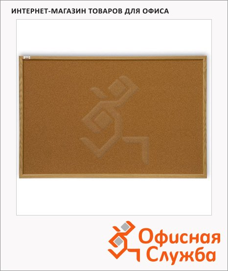 фото: Доска пробковая 2X3 Ecoline TC 128/C 80х120см коричневая, деревянная рама