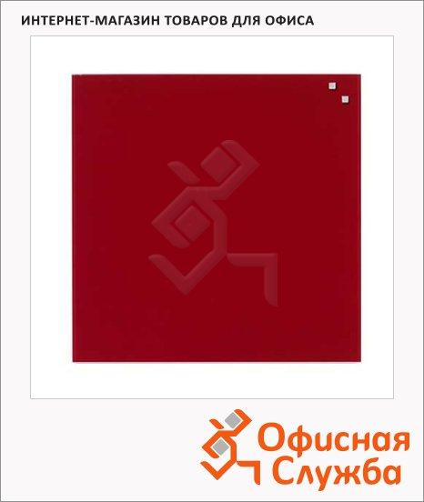 Доска магнитная маркерная стеклянная Naga 10773 45х45см, красная
