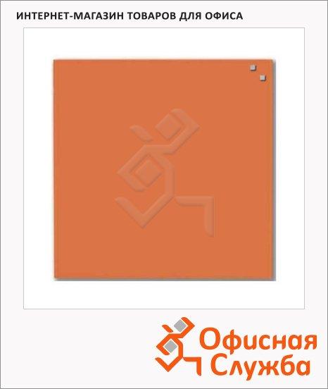 Доска магнитная маркерная стеклянная Naga 10773 45х45см, оранжевая