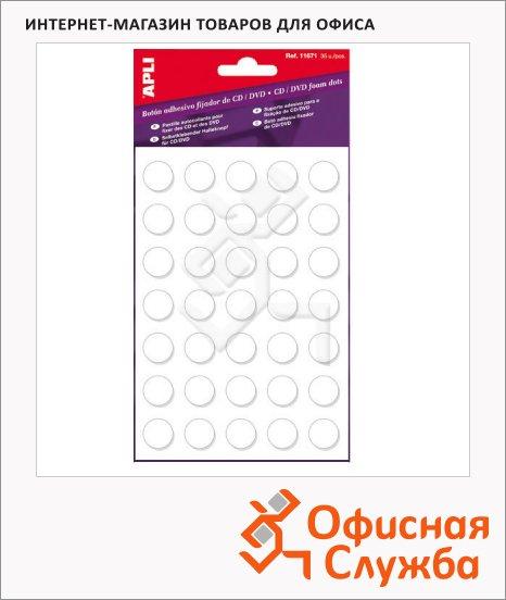 Этикетки для CD/DVD Apli 11671, d=15мм, 35шт, белые