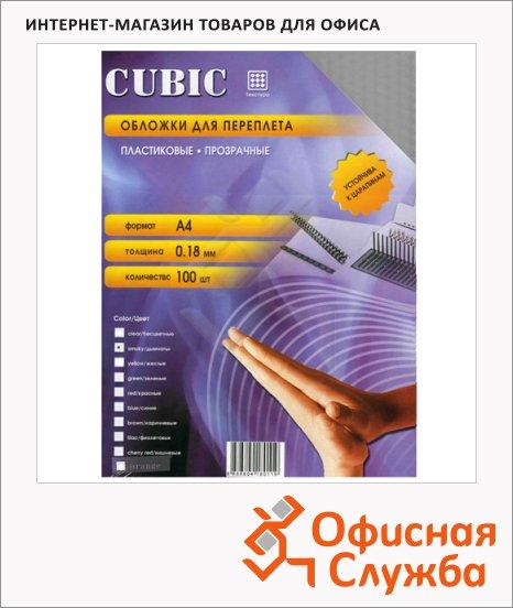 фото: Обложки для переплета пластиковые Office Kit Cubic дымчатые А4, 180 мкм, 100шт, PSKA400180