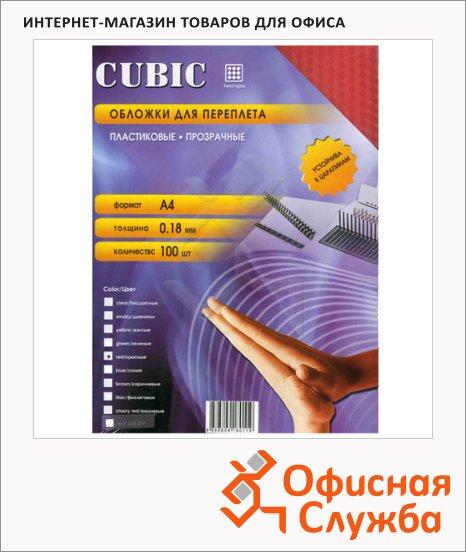 Обложки для переплета пластиковые Office Kit Cubic красные, А4, 180 мкм, 100шт, PRKA400180