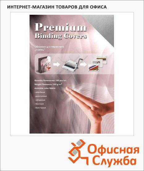 Обложки для переплета картонные Office Kit CS253LUX серебристые, А3, 250 г/кв.м, 100шт, GSA300250