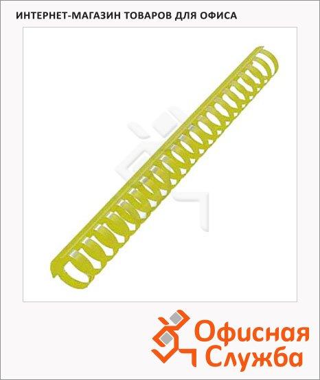 Пружины для переплета пластиковые Office Kit желтые, на 240-270 листов, кольцо, 28мм, 50шт, BP2158