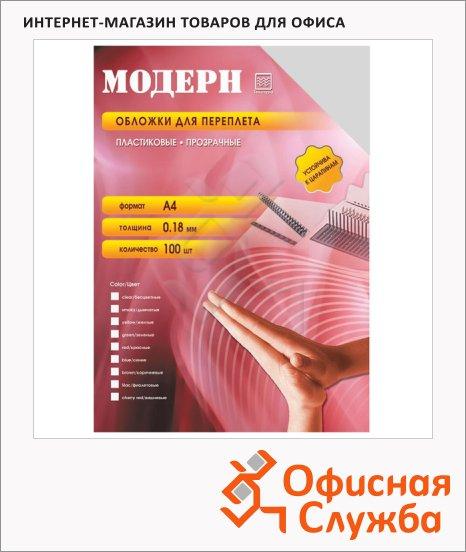 фото: Обложки для переплета пластиковые Office Kit PYMA400180 прозрачные А4, 180 мкм, 100шт, Модерн