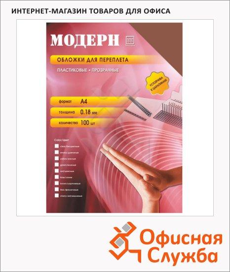 фото: Обложки для переплета пластиковые Office Kit PYMA400180 коричневые А4, 180 мкм, 100шт, Модерн