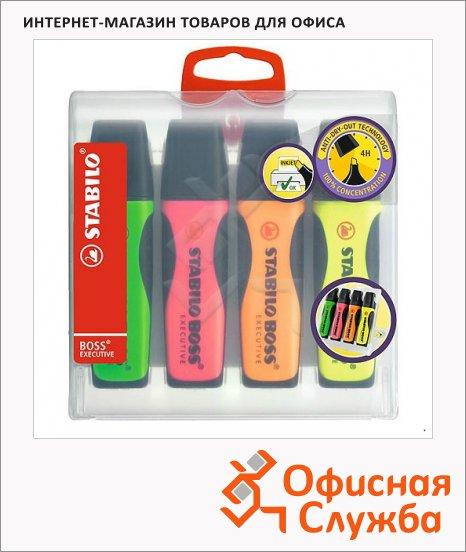Текстовыделитель Stabilo Boss Executive набор 4 цвета, 2-5мм, скошенный наконечник