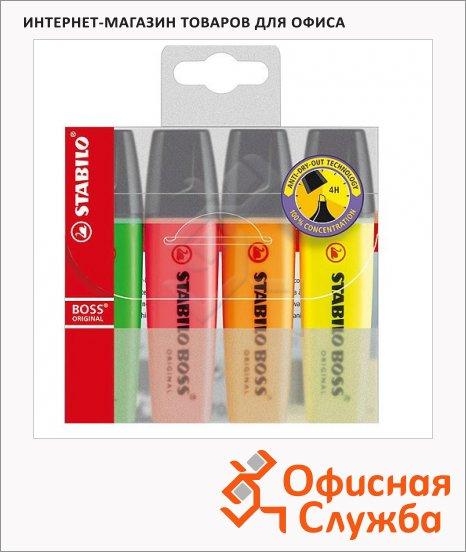 Текстовыделитель Stabilo Boss Original набор 4 цвета, 2-5мм, скошенный наконечник, 2-5мм, скошенный наконечник
