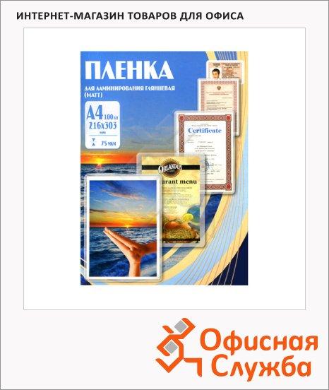 фото: Пленка для ламинирования Office Kit 75мкм 100шт, 216х303 мм, матовая