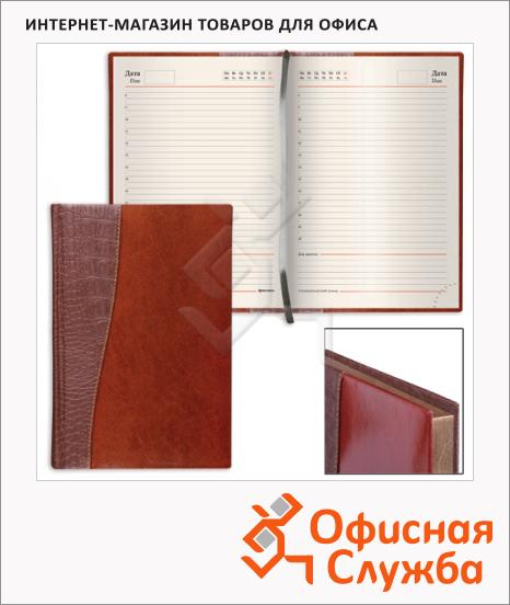 Ежедневник недатированный Brauberg Cayman коричневый/ темно-коричневый, А6, 160 листов, комбинированная кожа