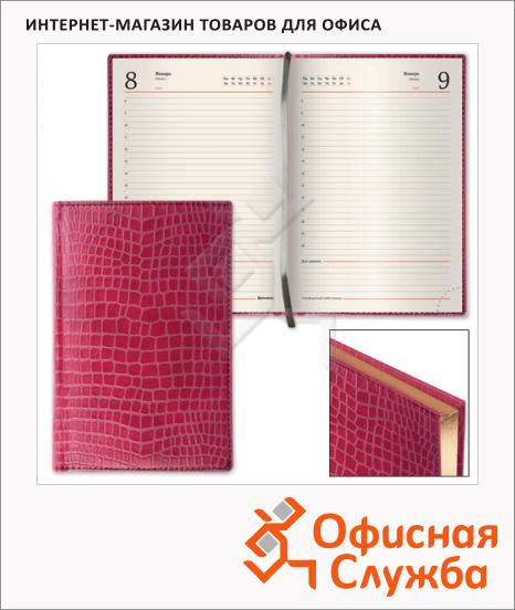 Ежедневник полудатированный Brauberg Alligator красный, А5, 208 листов, под крокодиловую кожу