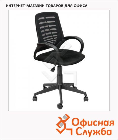 Кресло офисное Бюрократ Ирис ткань, черная, крестовина пластик