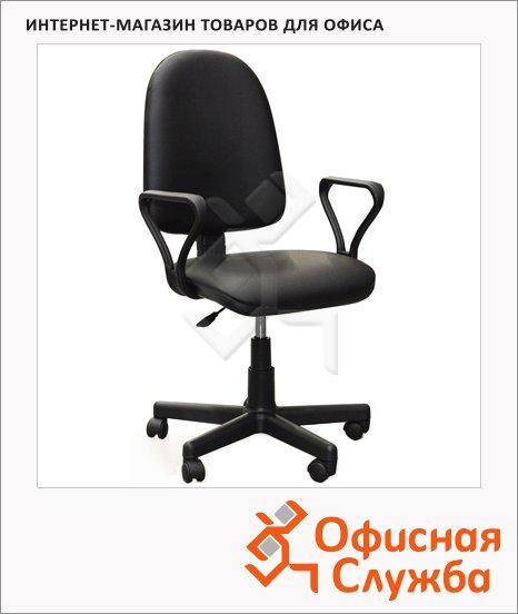 фото: Кресло офисное Бюрократ Престиж иск. кожа крестовина пластик, черная