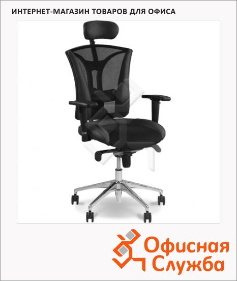 Кресло руководителя Nowy Styl Pilot R HR иск. кожа, черная, с тканевыми вставками, крестовина хром