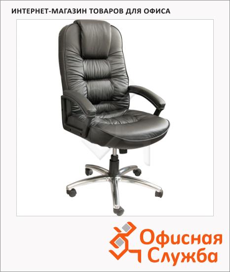 фото: Кресло руководителя 418 нат. кожа черная, крестовина хром