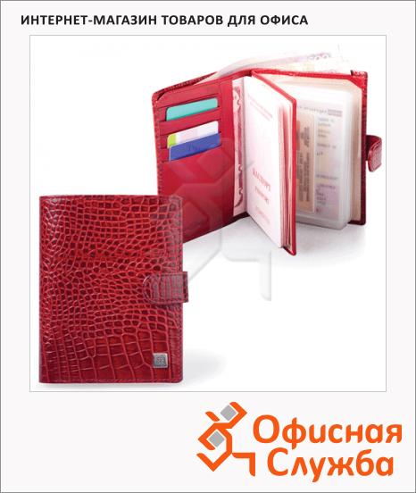 фото: Обложка для документов Sergio Belotti Ящерица красная натуральная кожа, 6 карманов
