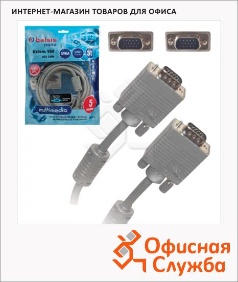 Кабель мониторный Belsis VGA-SVGA (m-m) 5 м, 1 фильтр, BW1473