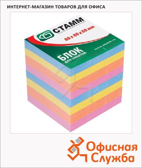 Блок для записей с клейким краем Стамм Премиум 4 цвета, пастельный, 80х80мм
