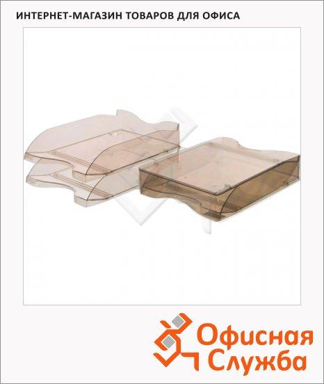 Лоток горизонтальный для бумаг Стамм Люкс А4, 2 шт/уп, коричневый, ЛТ607