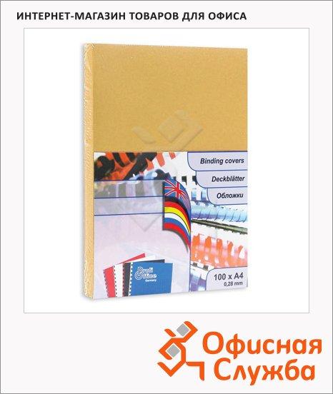 фото: Обложки для переплета картонные Profioffice золотые А4, 250 г/кв.м, 100шт, 49106