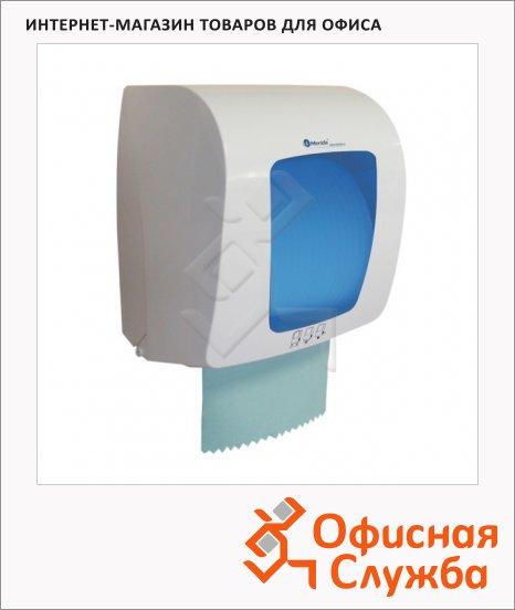 Диспенсер для рулонных бумажных полотенец Merida Top Mini белый с синим, пластик, сенсорный