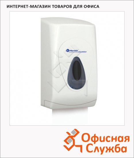 Диспенсер для листовой туалетной бумаги Merida Top серая капля, белый, пластик