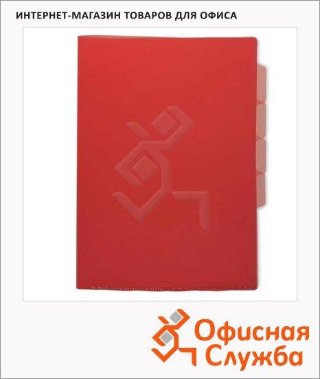 Папка-уголок Бюрократ 3-х уровневая красная прозрачная, А4, 150 мкм, E-356RED