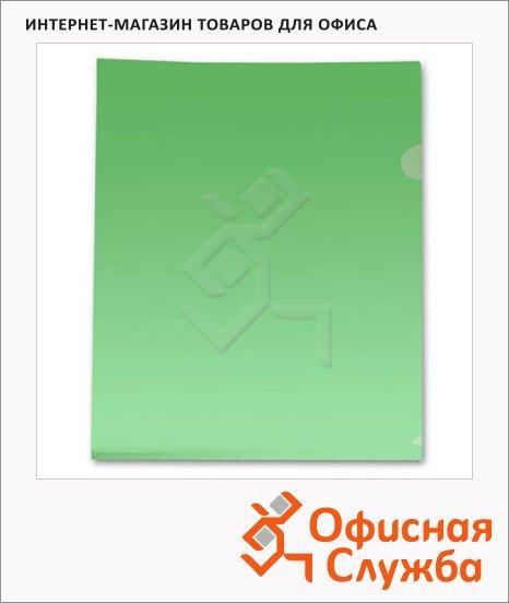 Папка-уголок Бюрократ зеленая прозрачная, A4, 100мкм, E100GRN