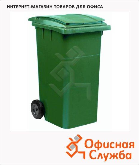 Контейнер для мусора пластиковый Merida негорючий зеленый, 240л