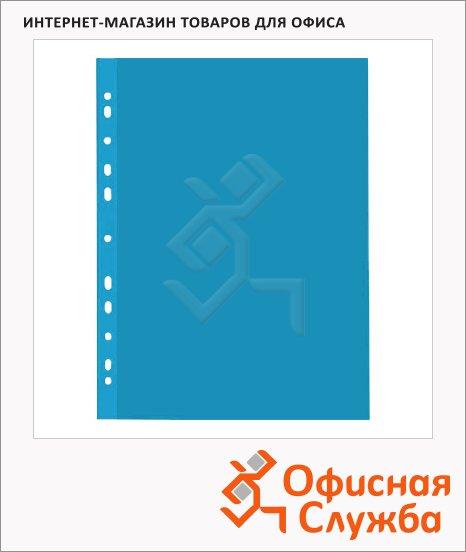 Файл-вкладыш А4+ Бюрократ Премиум голубой глянцевый, 30 мкм, 50 шт/уп