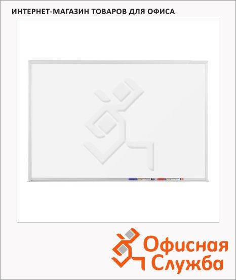 Доска магнитная маркерная Magnetoplan 12411CC 120х240см, белая, эмалевая, алюминиевая рама, полочка