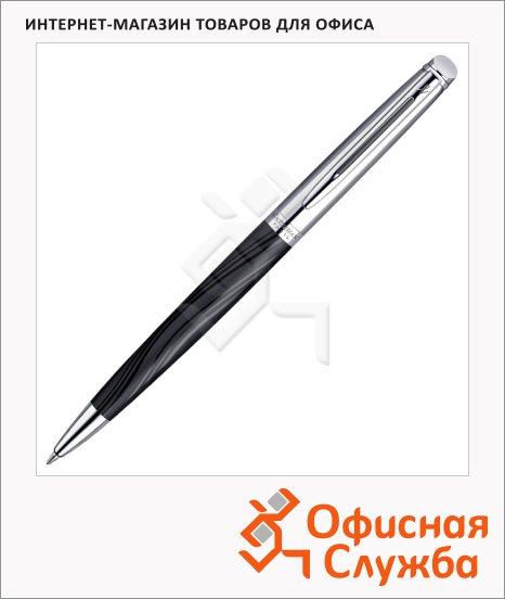 Ручка шариковая Waterman Hemisphere Deluxe М, синяя, черный/стальной корпус