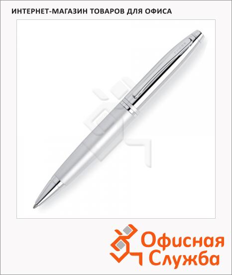 Ручка шариковая Cross Calais 1мм, черная, серебристый корпус, AT0112-4