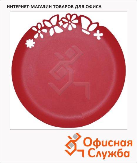 фото: Блюдо одноразовое с ажурным краем красное