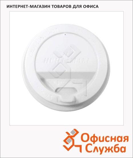 фото: Крышка для одноразовых стаканов Rioba с носиком d=90мм белая, 100шт/уп