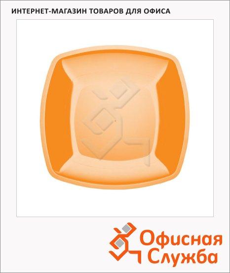 Тарелка одноразовая Buffet желтая, 18см, 6шт/уп, квадратная плоская