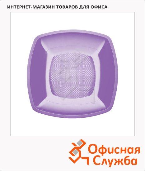 Тарелка одноразовая Buffet сиреневая, 18см, квадратная глубокая, 6шт/уп