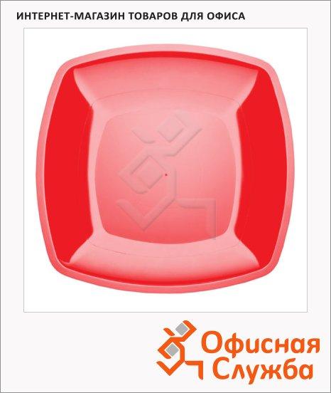 Тарелка одноразовая Buffet красная, 23см, квадратная плоская, 6шт/уп